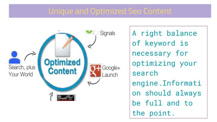 Unique and Optimized Seo Content