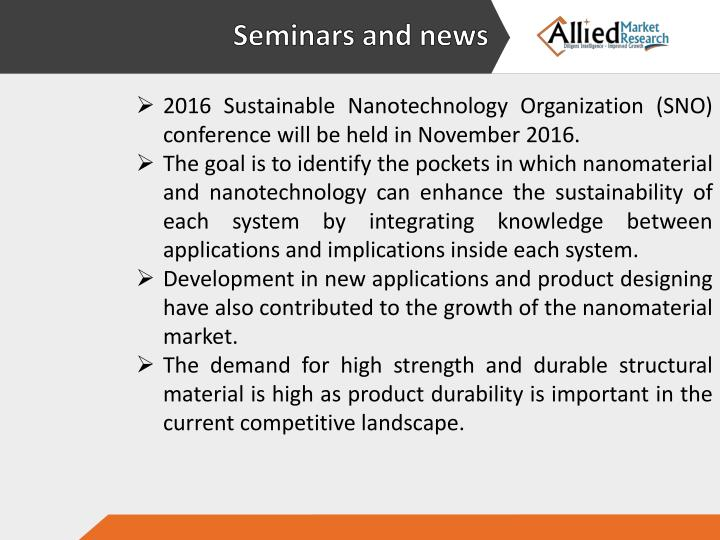 2016 Sustainable Nanotechnology Organization (SNO) conference will be held in November 2016