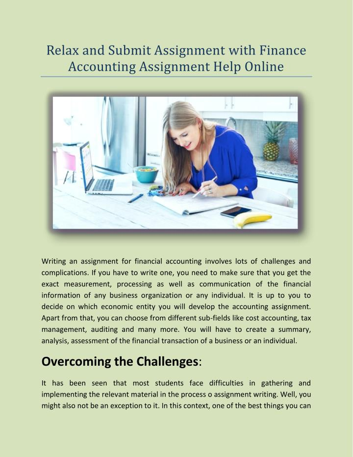 Relax and Submit Assignment with Finance