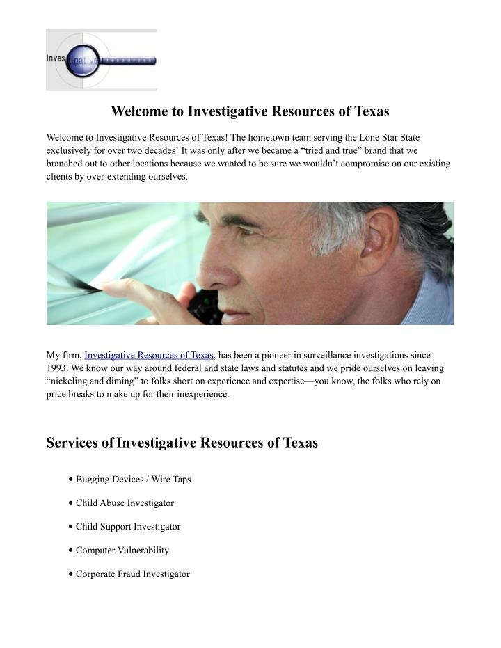 Welcome to Investigative Resources of Texas