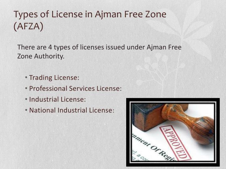 Types of License in Ajman Free Zone (AFZA)