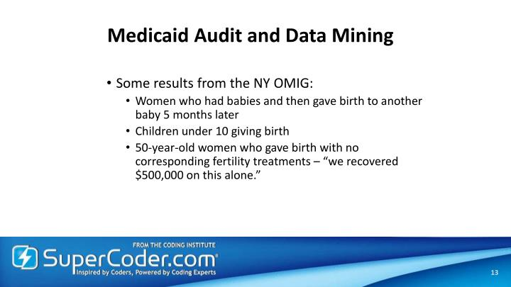 Medicaid Audit and Data Mining