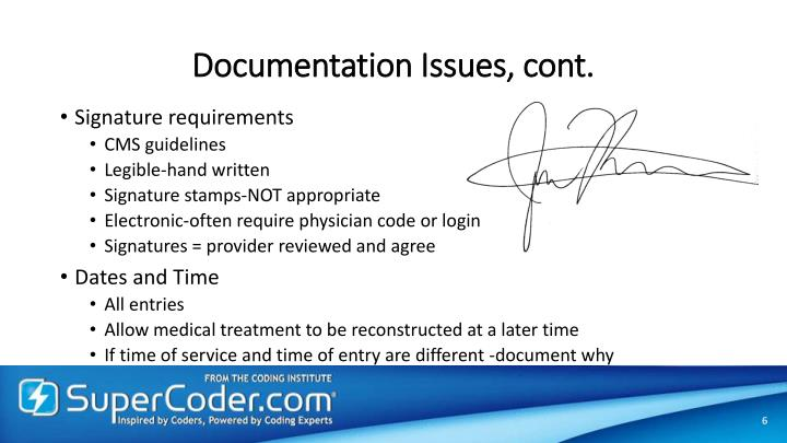 Documentation Issues, cont.