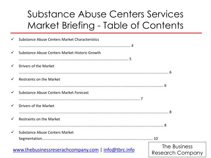 Substance Abuse Centers Services Market Briefing