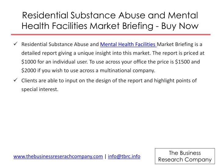 Residential Substance Abuse and Mental Health Facilities Market