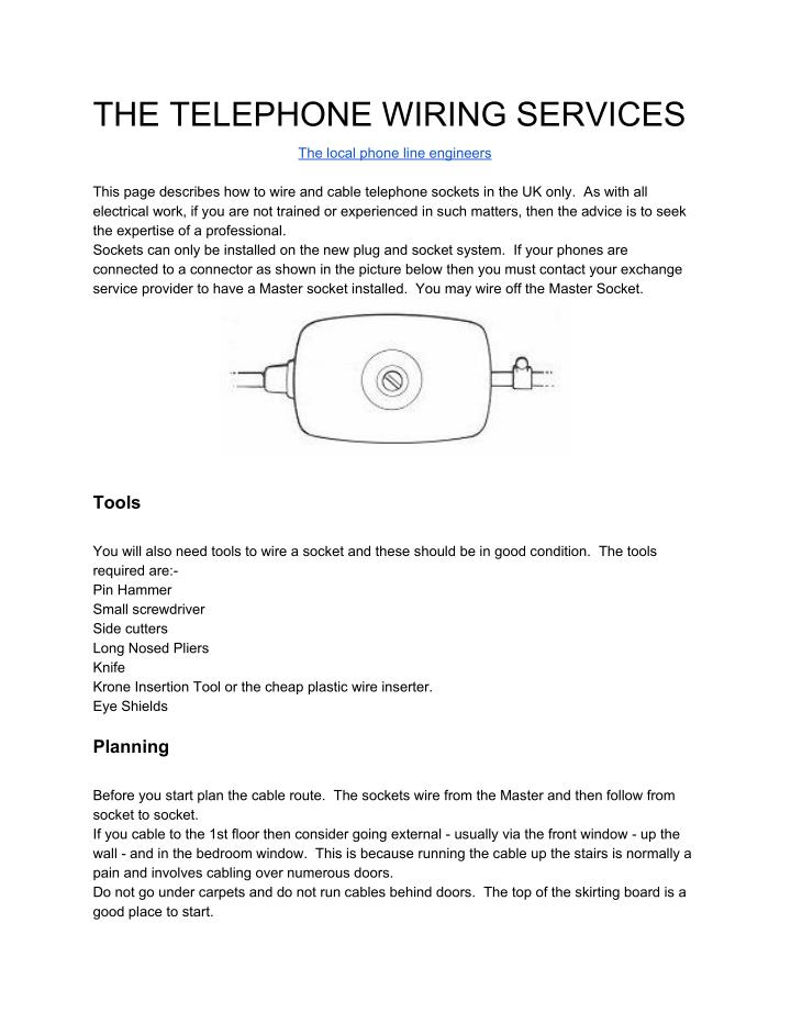 THE TELEPHONE WIRING SERVICES