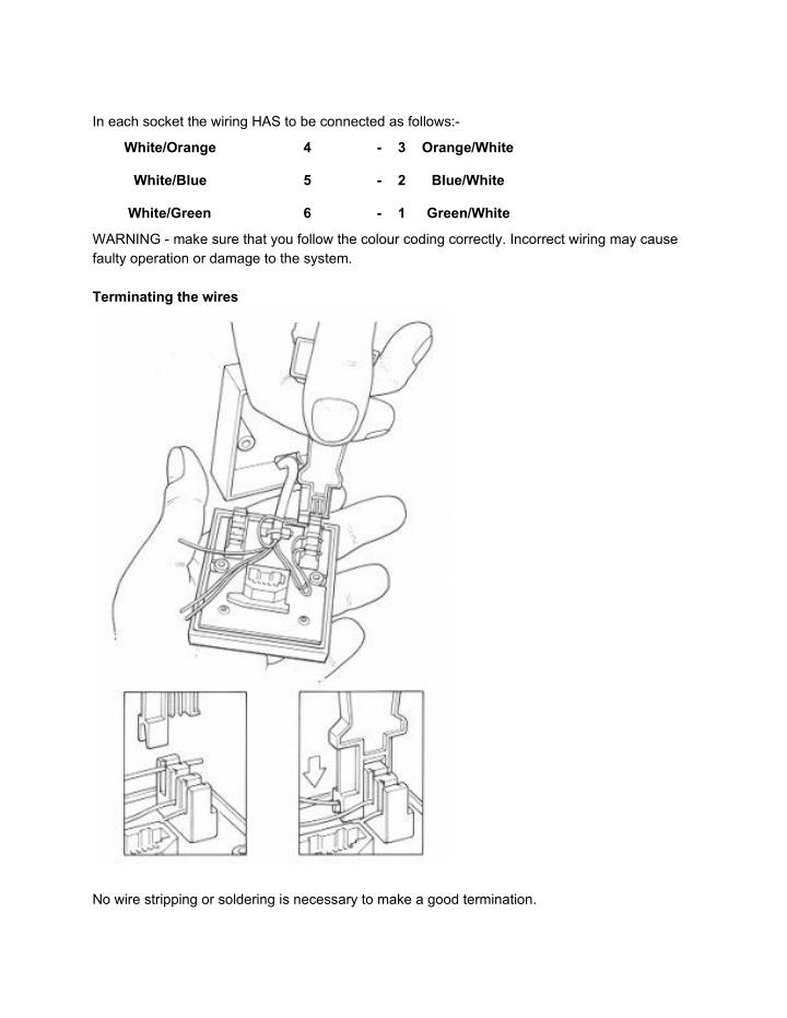 In each socket the wiring HAS to be connected as follows:-