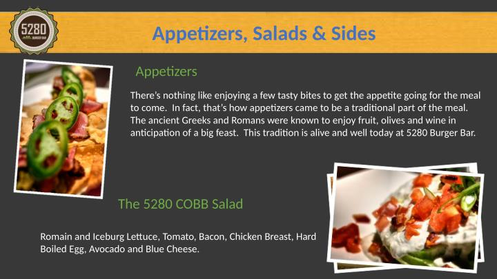 Appetizers, Salads & Sides