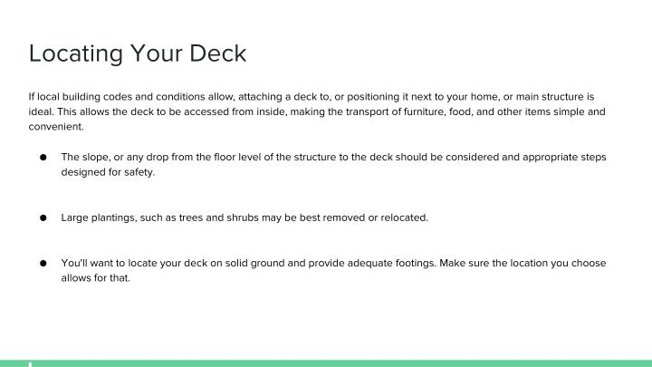 Locating Your Deck