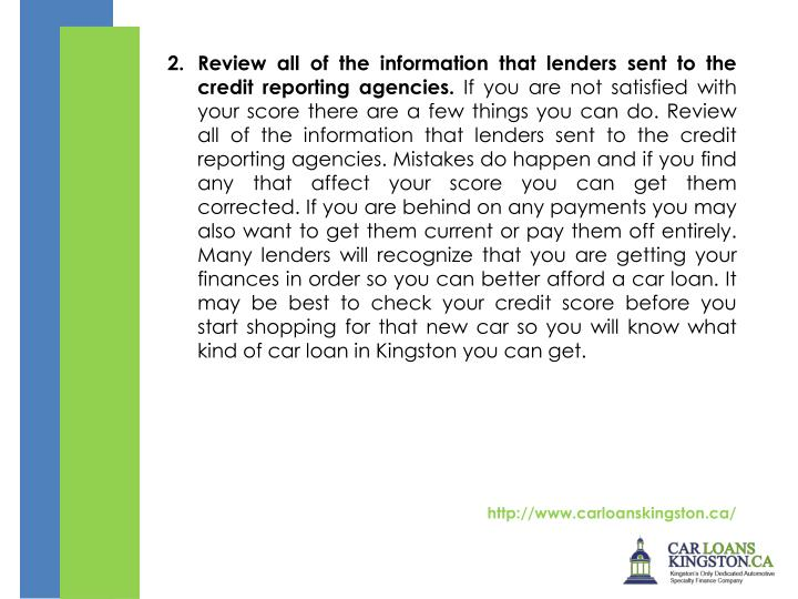 2. Review all of the information that lenders sent to the credit reporting agencies.