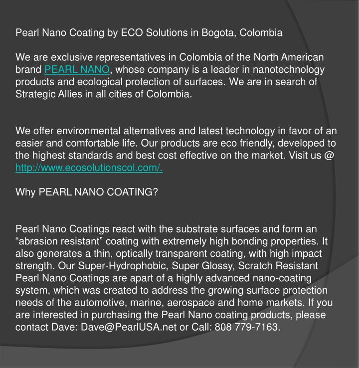 Pearl Nano Coating by ECO Solutions in Bogota, Colombia