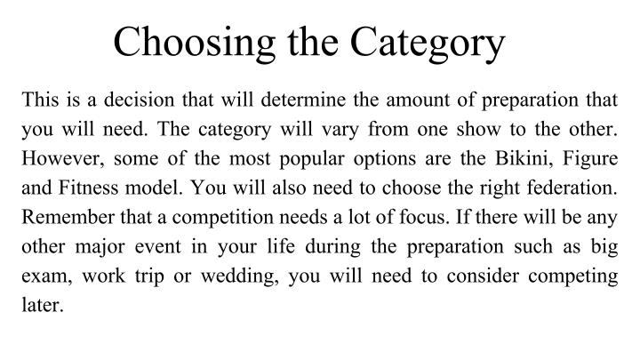 Choosing the Category