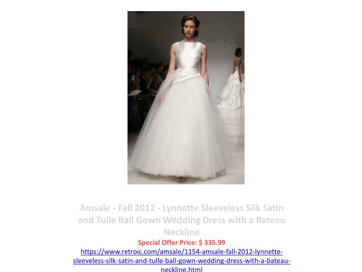 Amsale - Fall 2012 - Lynnette Sleeveless Silk Satin and Tulle Ball Gown Wedding Dress with a Bateau Neckline