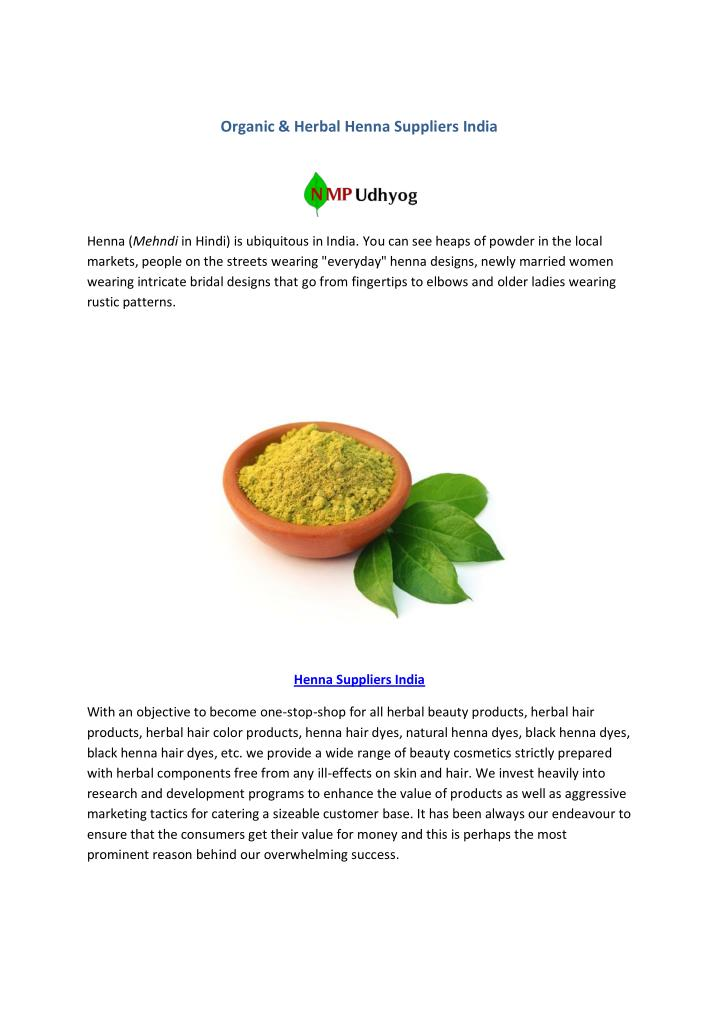 Organic & Herbal Henna Suppliers India