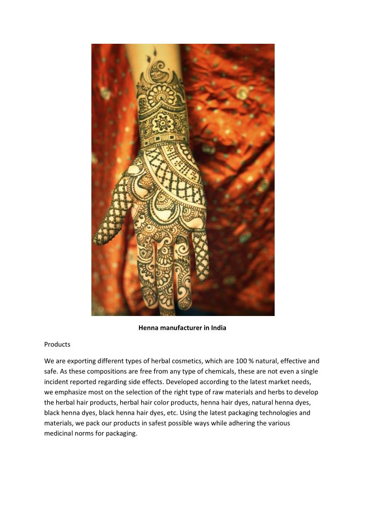 Henna manufacturer in India