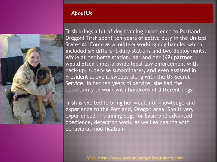 Trish brings a lot of dog training experience to Portland, Oregon! Trish spent ten years of active duty in the United States Air Force as a military working dog handler which included six different duty stations and two deployments. While at her home station, her and her (K9) partner would often times provide local law enforcement with back-up, supervise subordinates, and even assisted in Presidential event sweeps along with the US Secret Service. In her ten years of service, she had the opportunity to work with hundreds of different dogs