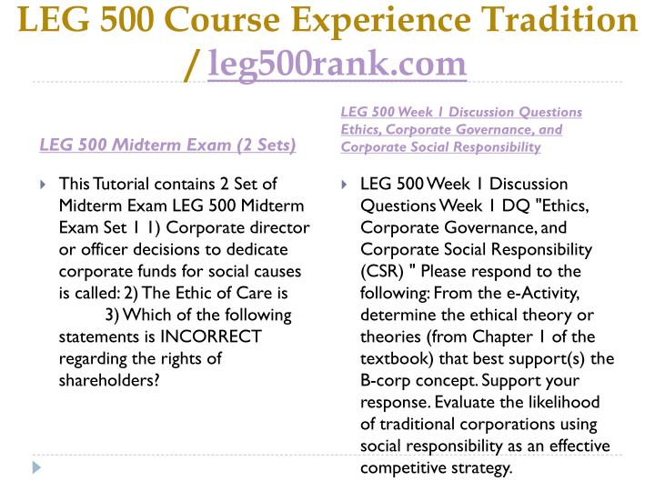 LEG 500 Course Experience Tradition /