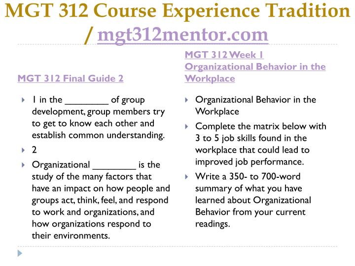 Mgt 312 course experience tradition mgt312mentor com2