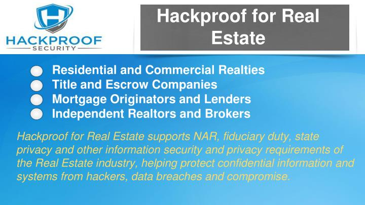 Hackproof for Real Estate