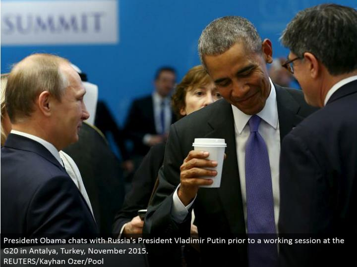 President Obama talks with Russia's President Vladimir Putin preceding a working session at the G20 in Antalya, Turkey, November 2015. REUTERS/Kayhan Ozer/Pool