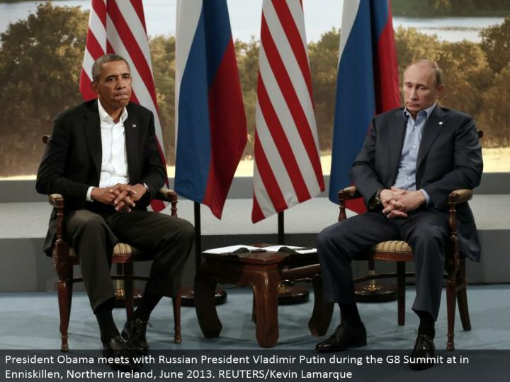 President Obama meets with Russian President Vladimir Putin amid the G8 Summit at in Enniskillen, No...