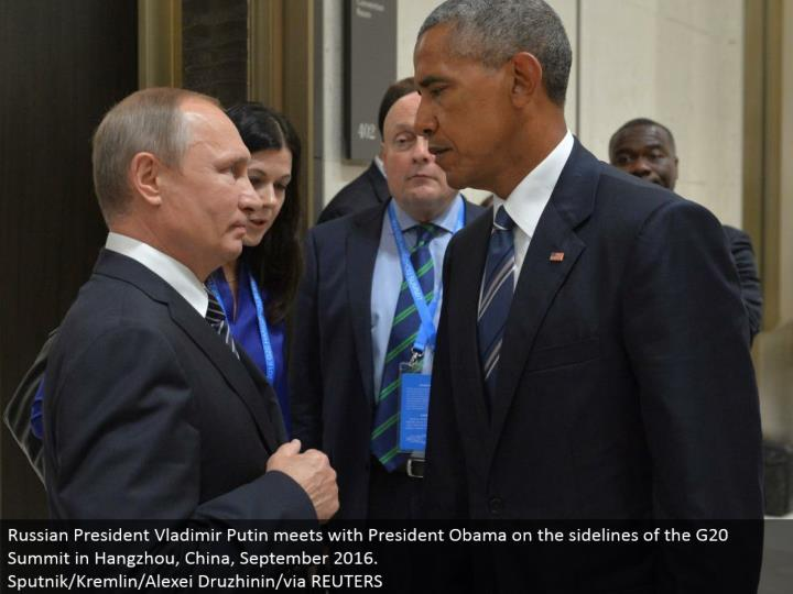 Russian President Vladimir Putin meets with President Obama on the sidelines of the G20 Summit in Hangzhou, China, September 2016.  Sputnik/Kremlin/Alexei Druzhinin/through REUTERS
