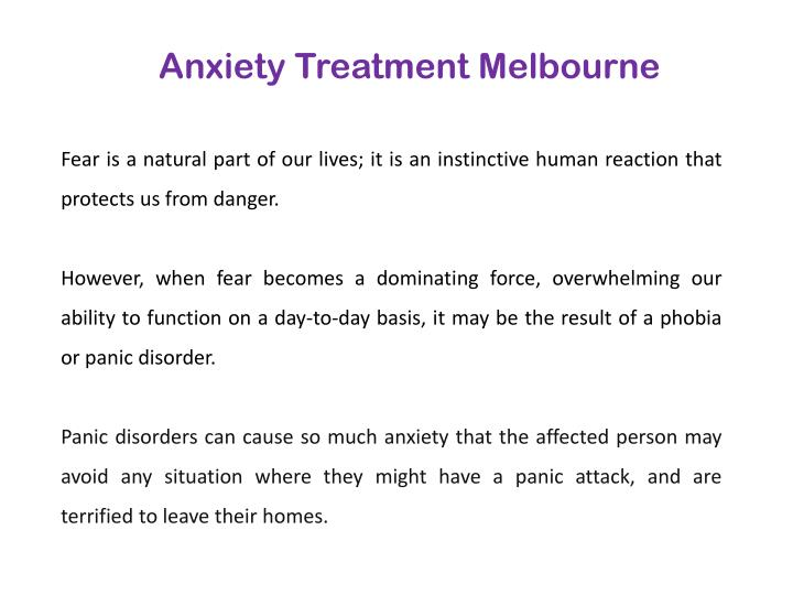 Anxiety Treatment Melbourne