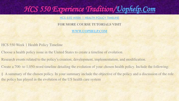 Hcs 550 experience tradition uophelp com2