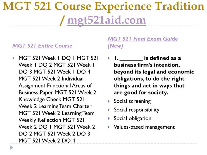 Mgt 521 course experience tradition mgt521aid com1