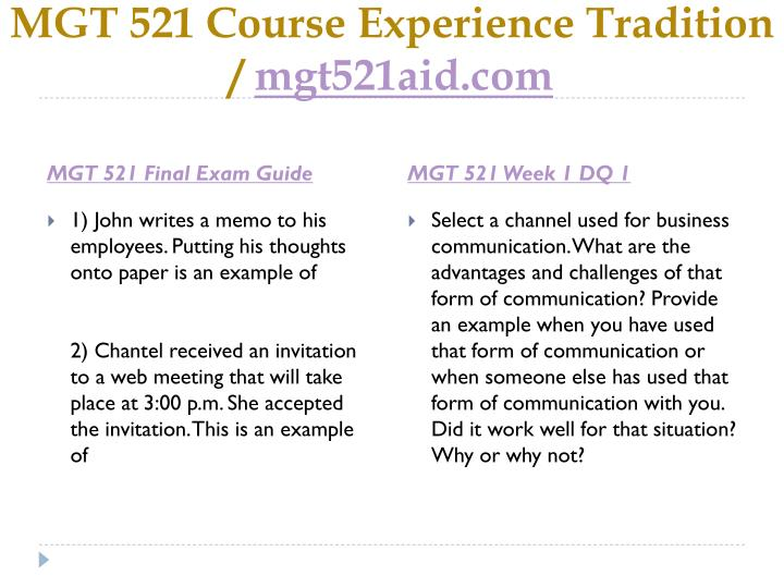 Mgt 521 course experience tradition mgt521aid com2