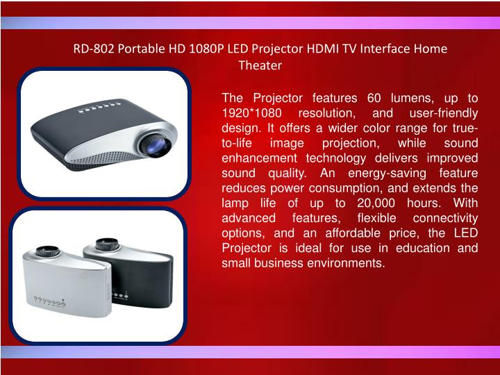 RD-802 Portable HD 1080P LED Projector HDMI TV Interface Home Theater