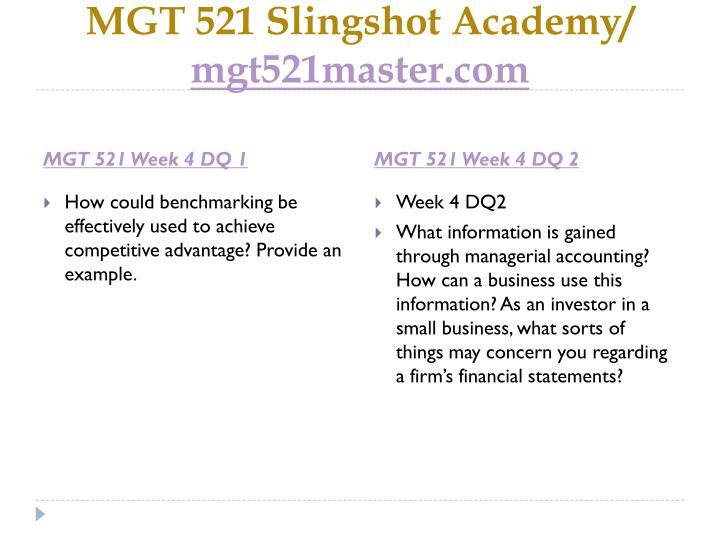 MGT 521 Slingshot Academy/
