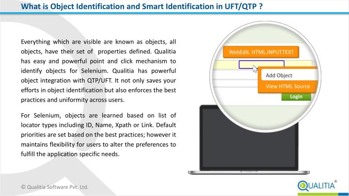 What is object identification and smart identification in uft qtp