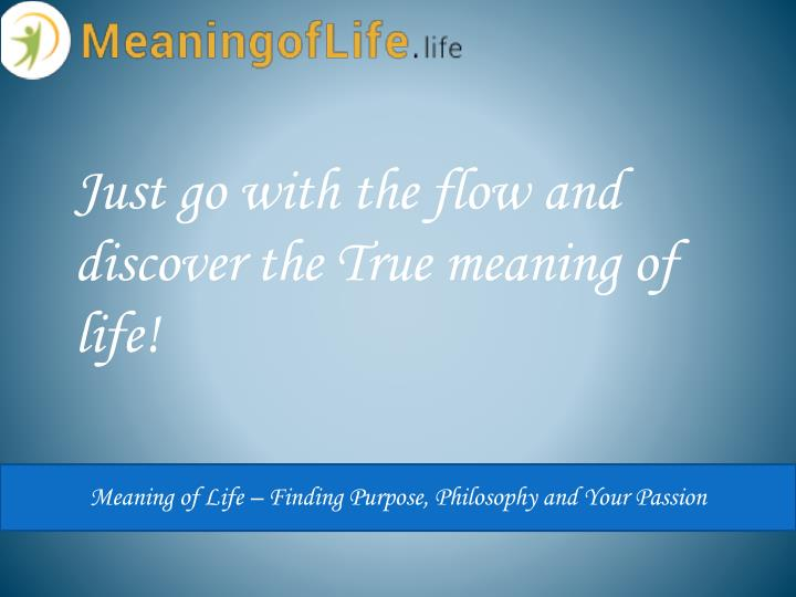 Just go with the flow and discover the True meaning of life!