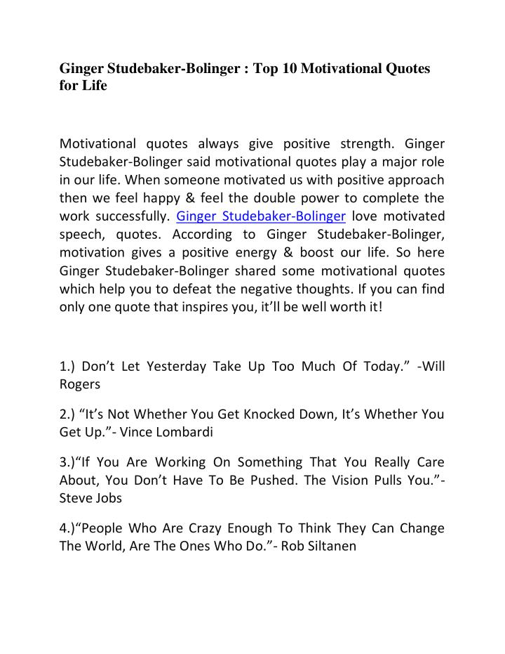 Ginger Studebaker-Bolinger : Top 10 Motivational Quotes