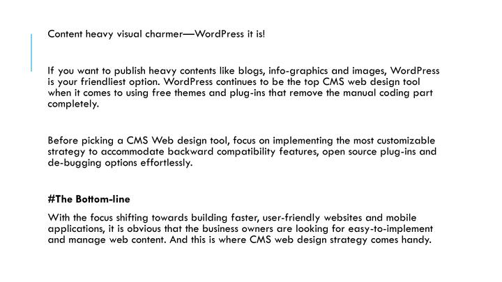 Content heavy visual charmer—WordPress it is!