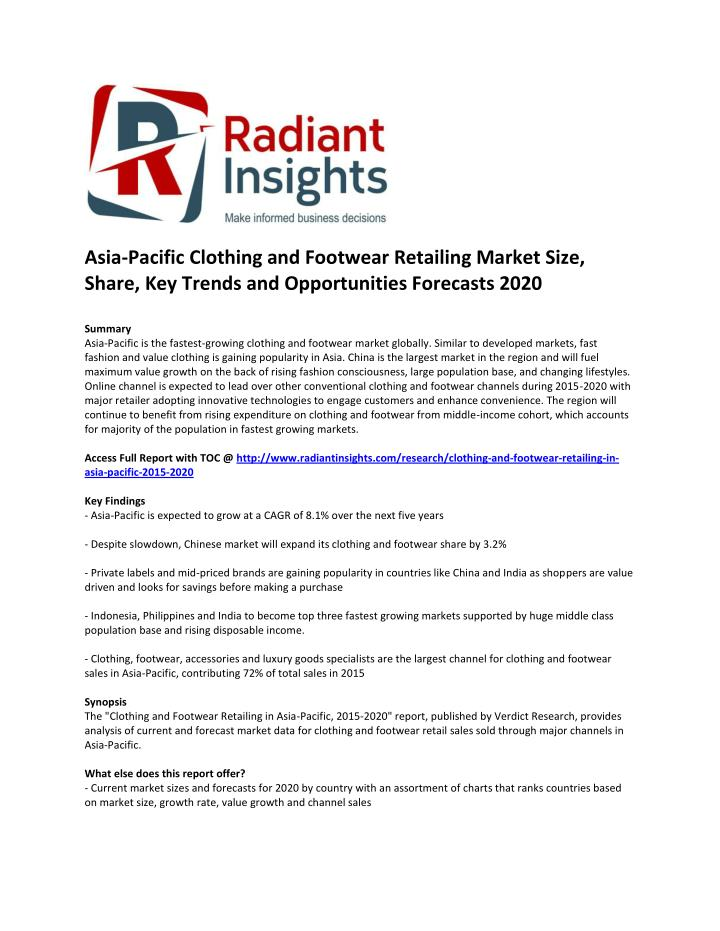 Asia-Pacific Clothing and Footwear Retailing Market Size,
