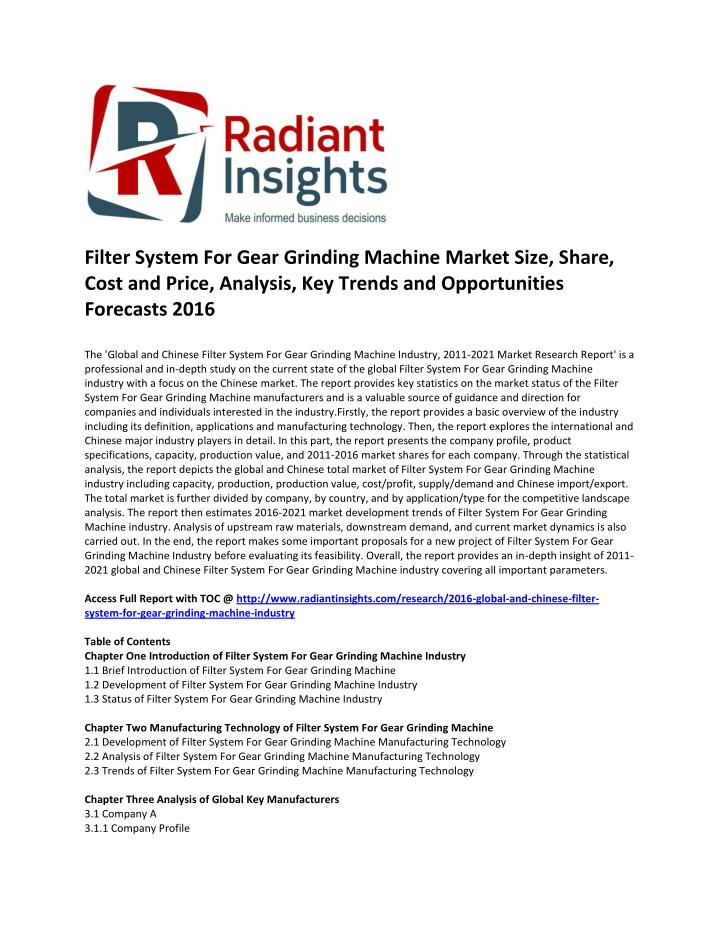 Filter System For Gear Grinding Machine Market Size, Share,