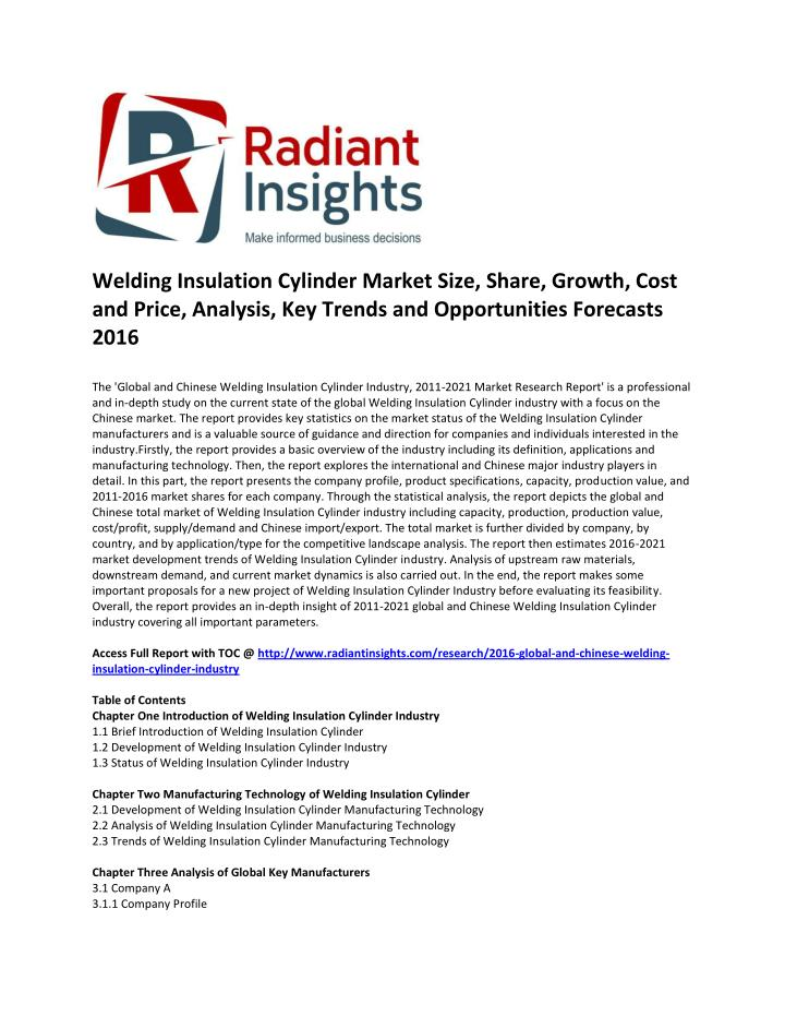 Welding Insulation Cylinder Market Size, Share, Growth, Cost