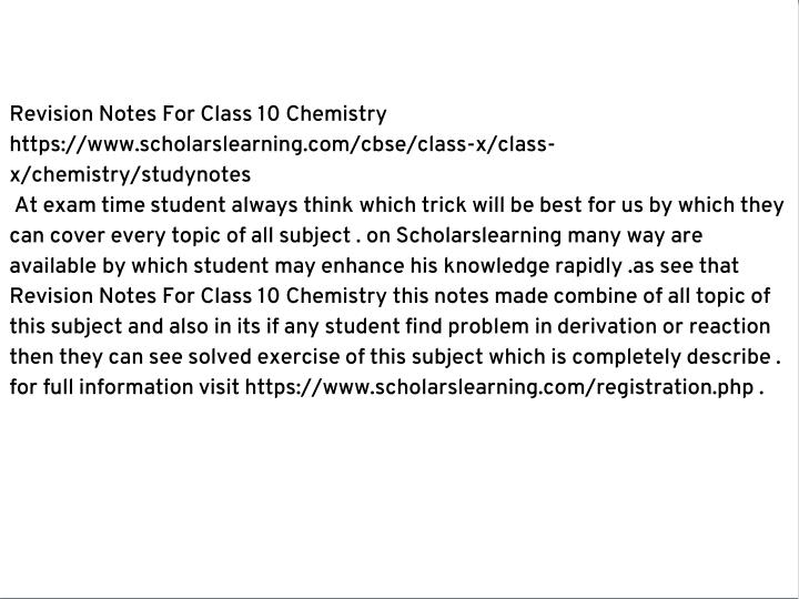 Revision Notes For Class 10 Chemistry