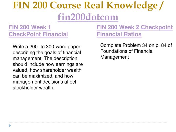 Fin 200 course real knowledge fin200dotcom2