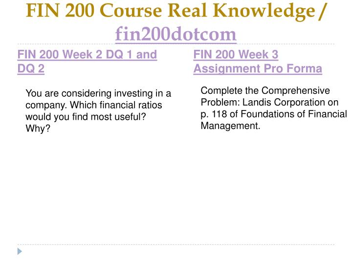 FIN 200 Course Real Knowledge /