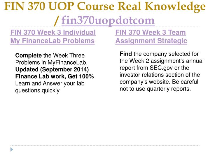 FIN 370 UOP Course Real Knowledge /