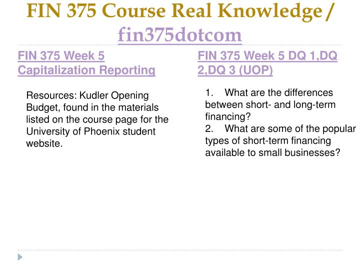 FIN 375 Course Real Knowledge /