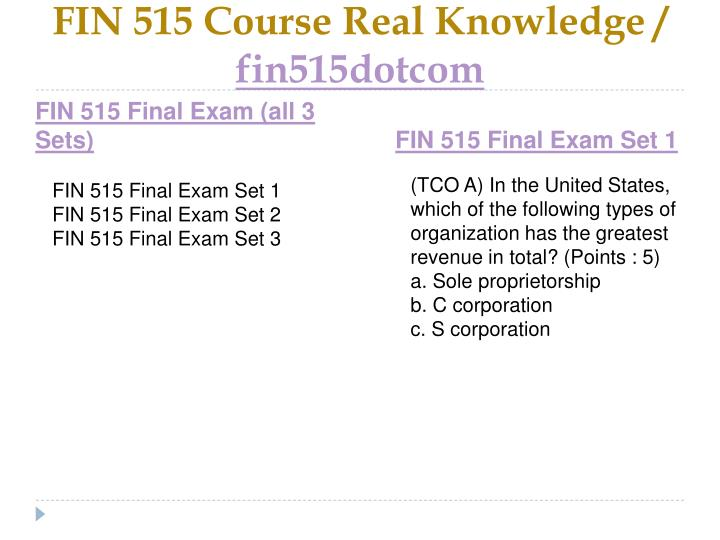 Fin 515 course real knowledge fin515dotcom2