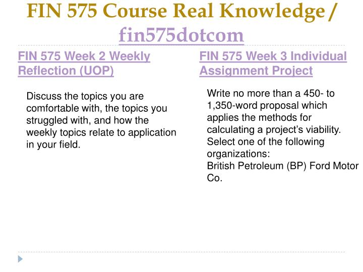 FIN 575 Course Real Knowledge /