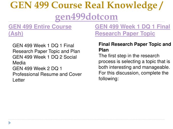Gen 499 course real knowledge gen499dotcom1