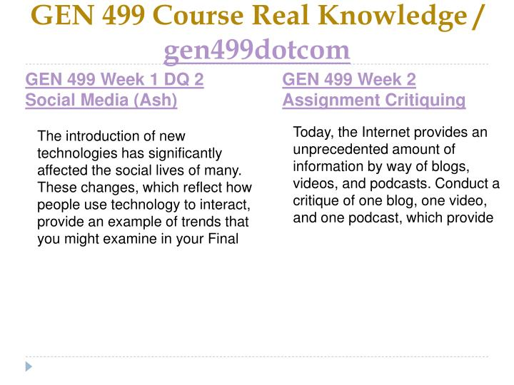 Gen 499 course real knowledge gen499dotcom2