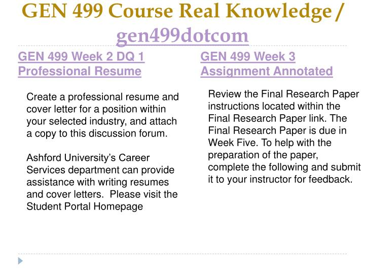 GEN 499 Course Real Knowledge /