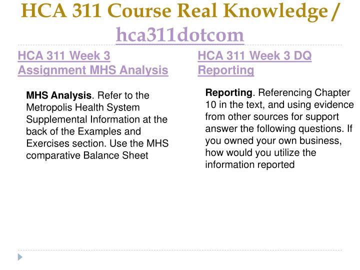 HCA 311 Course Real Knowledge /